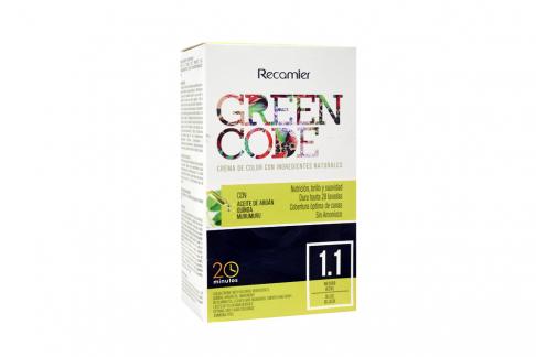 Crema De Color Green Code Tono Negro Azul Caja Con 1 Kit