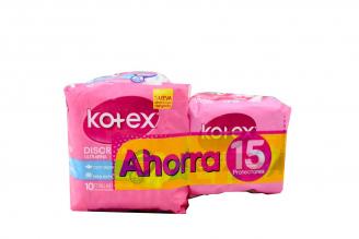 Toallas Kotex Empaque Con 10 Unidades + 15 Protectores Ultraflexibles