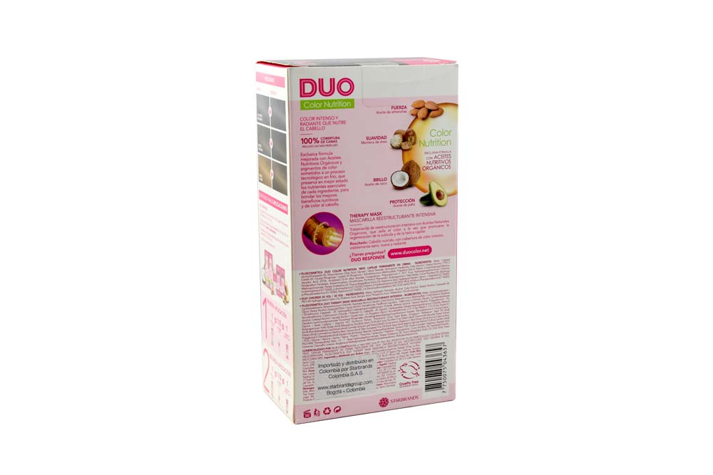 Tinte Capilar Duo Color Nutrition Tono Castaño Claro Caja Con 1 Kit