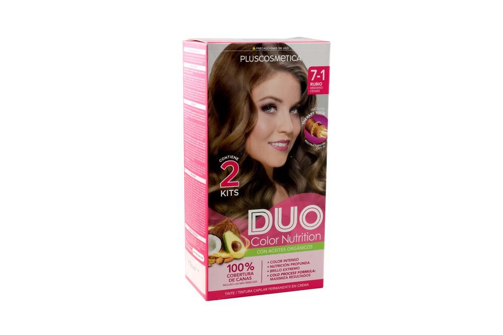 Tinte Capilar Duo Color Nutrition Tono Rubio Mediano Cenizo Caja Con 1 Kit