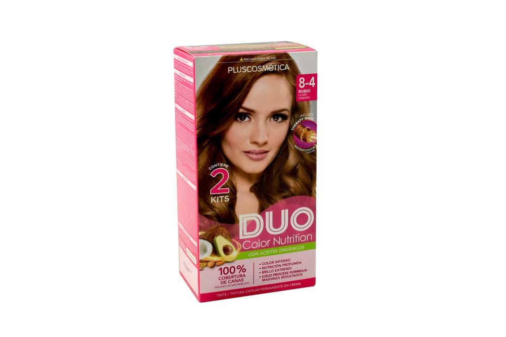 Tinte Capilar Duo Color Nutrition Tono 8.4 Rubio Claro Habano Caja Con 1 Kit