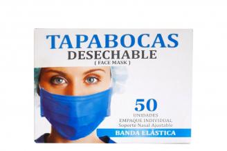 Tapabocas Desechable Con Banda Elástica Caja Con 50 Unidades