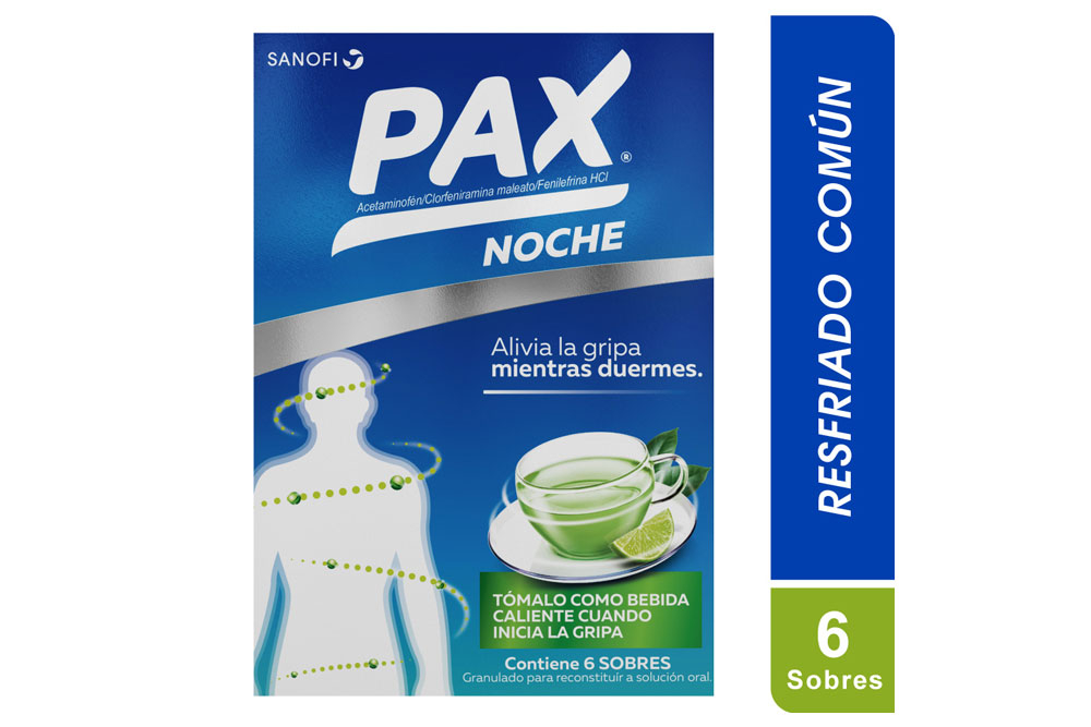 Pax Caliente Noche Sabor A Limón Caja Con 6 Sobres