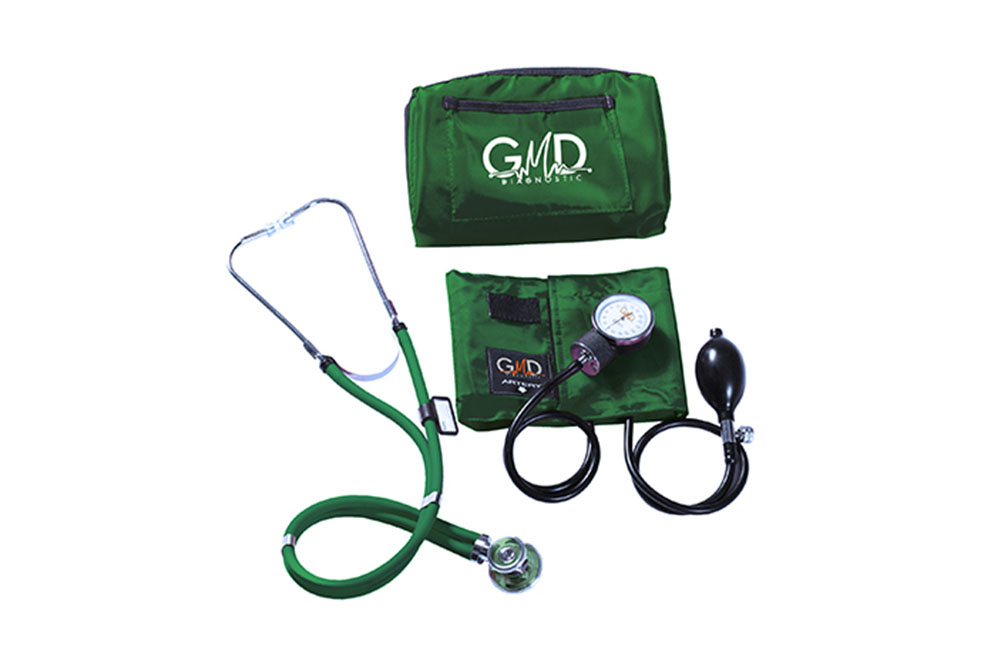 Kit De Tensiómetro Y Fonendoscopio GMD Rappaport Con 1 Estuche Verde