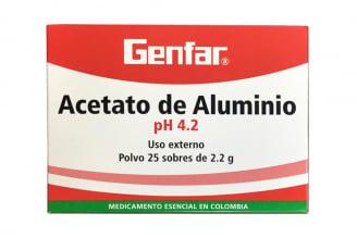 Acetato De Aluminio Winthrop Caja Con 25 Sobres Con 2.2 g C/U
