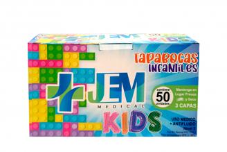 Tapabocas JEM Medical Kids 3 Pliegues Caja Con 50 Unidades