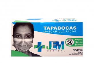 Tapabocas JEM Medical Adulto 3 Pliegues Caja Con 50 Unidades