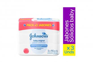 Johnson's Baby Original Jabon Cremoso Tripack Con 3 Jabones Con 125 g C/U