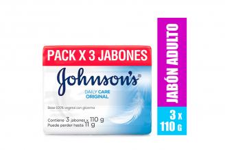 Jabón Johnson's Daily Care Original Empaque Con 3 Barras Con 100 g C/U