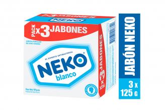 Jabón Antibacterial Neko Blanco Caja Con 3 Barras Con 125 g C/U