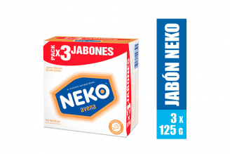 Jabón Neko Avena Caja Con 3 Barras Con 125 g C/U