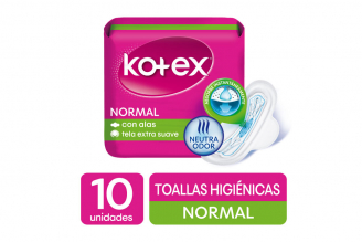 Toallas Kotex Normal Tela Paquete Con 10 Unidades