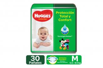 Pañales Huggies Active Sec Etapa 2 / M Paca Con 30 Unidades