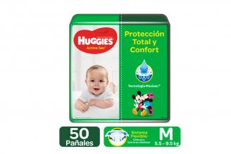 Pañales Huggies Active Sec Etapa 2 / M Paca Con 50 Unidades