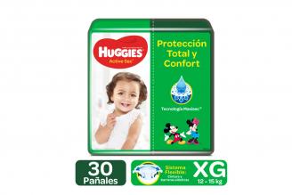 Pañales Huggies Active Sec Etapa 4 / XG Paca Con 30 Unidades