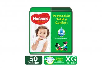 Pañales Huggies Active Sec Etapa 4 / XG Paca Con 50 Unidades