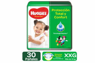 Pañales Huggies Active Sec Etapa 5 / XXG Paca Con 30 Unidades