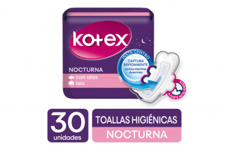 Toallas Kotex Nocturna Tela Paquete Con 30 Unidades