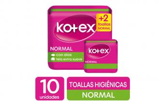Toallas Kotex Tela Normal Paquete Con 10 Unidades