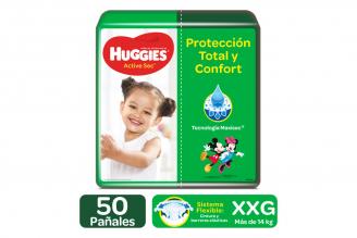 Pañales Huggies Active Sec Etapa 5 / XXG Paca Con 50 Unidades