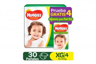 Pañales Huggies Active Sec Etapa 4 / XG Empaque Con 30 Unidades + 4 Pants