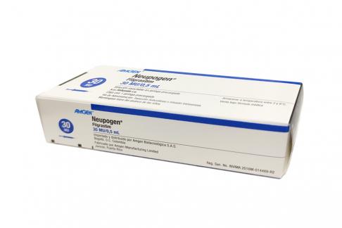 Neupogen Solución Inyectable 30 MU / 0.5 mL Caja Con 1 Jeringa Precargada Rx1 Rx3