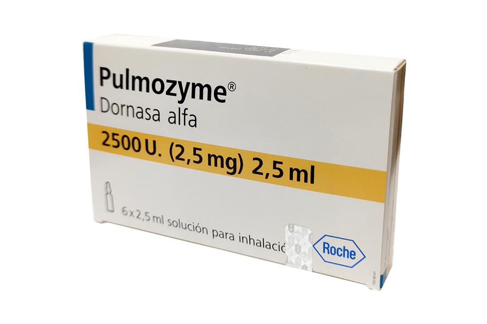 Pulmozyme 2.5 mg / 2.5 mL Caja Con 6 Ampollas Solución Para Inhalación Rx Rx1 Rx3 Rx4