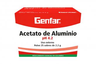 Acetato De Aluminio Polvo Genfar Caja Con 25 Sobres Con 2.2 g C/U