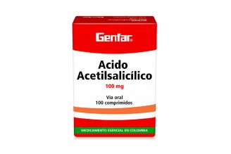 Ácido Acetilsalicílico 100 mg Genfar Caja Con 100 Tabletas