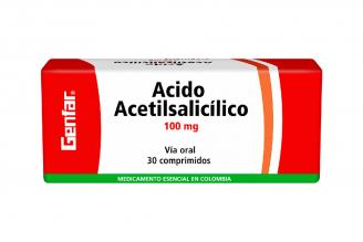 Ácido Acetilsalicílico 100 mg Genfar Caja Con 30 Comprimidos