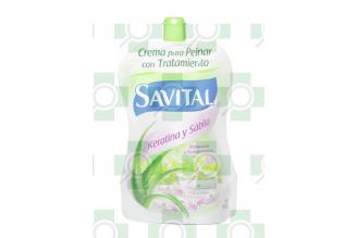 Crema Para Peinar Savital Con Keratina Tratamiento Sobre Con 95 mL