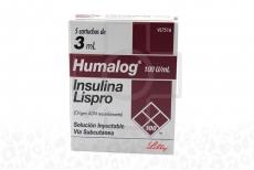 Humalog 100 U.I Caja Con 5 Cartuchos De 3 mL Rx3 RX4 Rx1