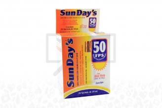 Bloqueador Sun Days 50 FPS Caja Con 24 Sobres
