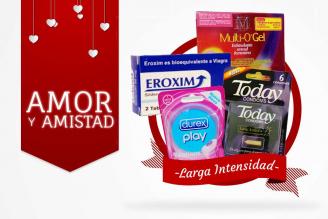 Kit Amor Y Amistad Bolsa Con 6 Condones Today + Anillo Vibrador DUO + Multi Gel Estimulante + Eroxim
