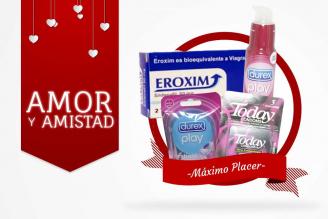 Kit Amor Y Amistad Bolsa Con 3 Condones Today + Anillo Vibrador Durex + Lubricante Sabor Cereza Durex + Eroxim