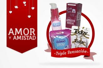 Kit Amor Y Amistad Bolsa Con 3 Condones Today + Anillo Vibrador DUO + Lubricante Íntimo Cereza + Esencia Floral