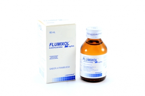 Flumixol 200 mg / 5mL Jarabe Frasco Con 60 mL - Sabor Frambuesa