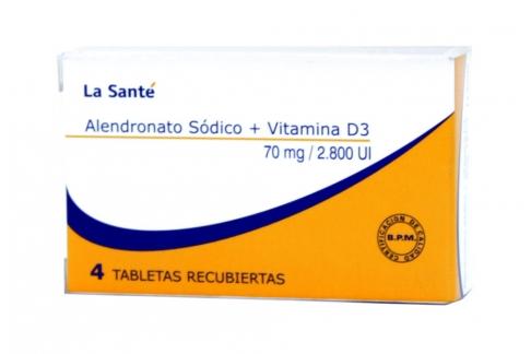 Alendronato Sódico + Vitamina D3 Caja Con 4 Tabletas Recubiertas Rx4