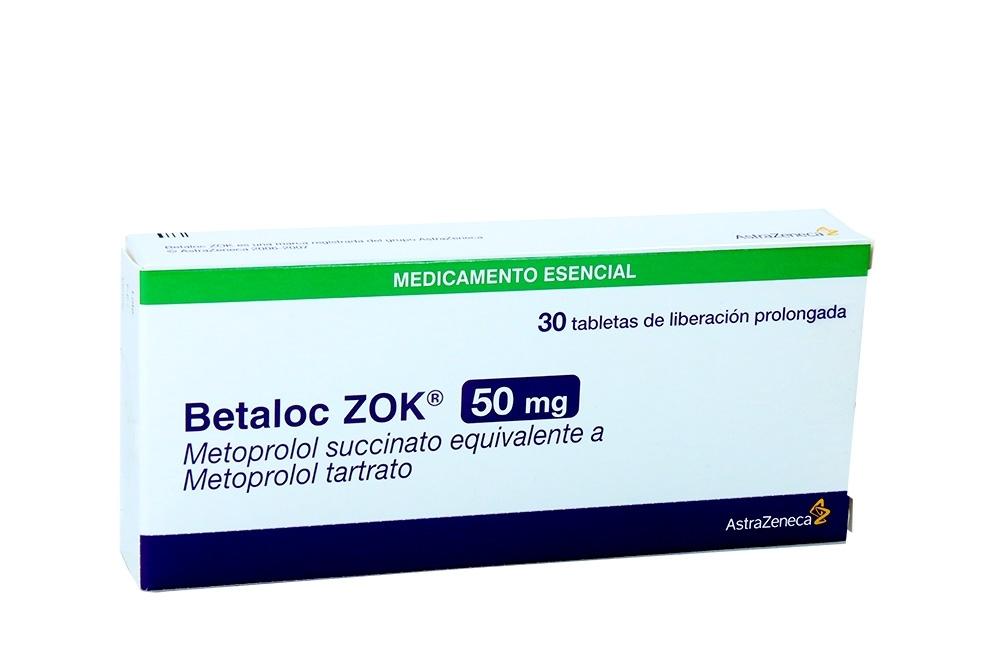 Betaloc Zok 50 mg Caja Con 30 Tabletas De Liberación prolongada Rx4