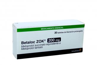 Betaloc Zok 200 mg Caja Con  30 Tabletas De Liberación Prolongada Rx4