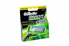 Repuesto Máquina Para Afeitar Gillette Mach 3 Sensitive Caja Con 2 Cartuchos