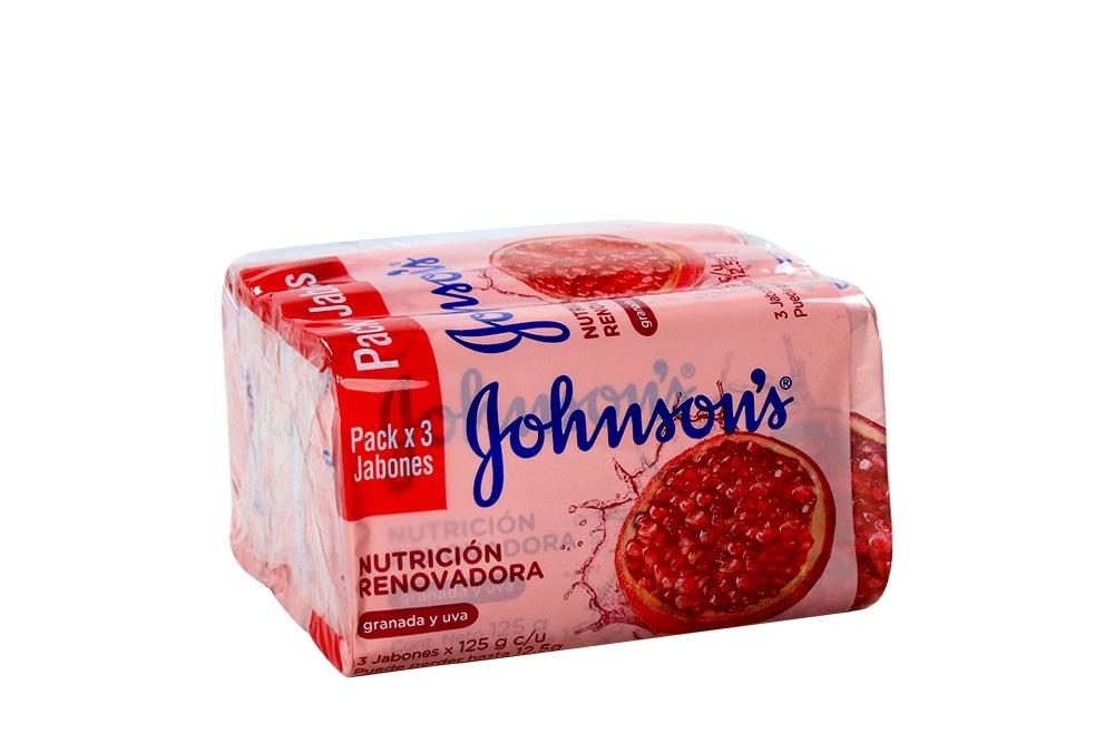 Jabon Johnson's Nutrición Renovadora Paquete Con 3 Barras Con 125 g