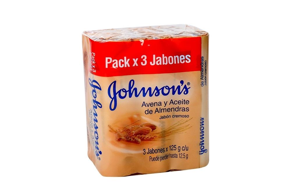 Jabón Johnson´s Avena Y Aceites De Almendras Empaque Con 3 Unidades Con 125 g c/u