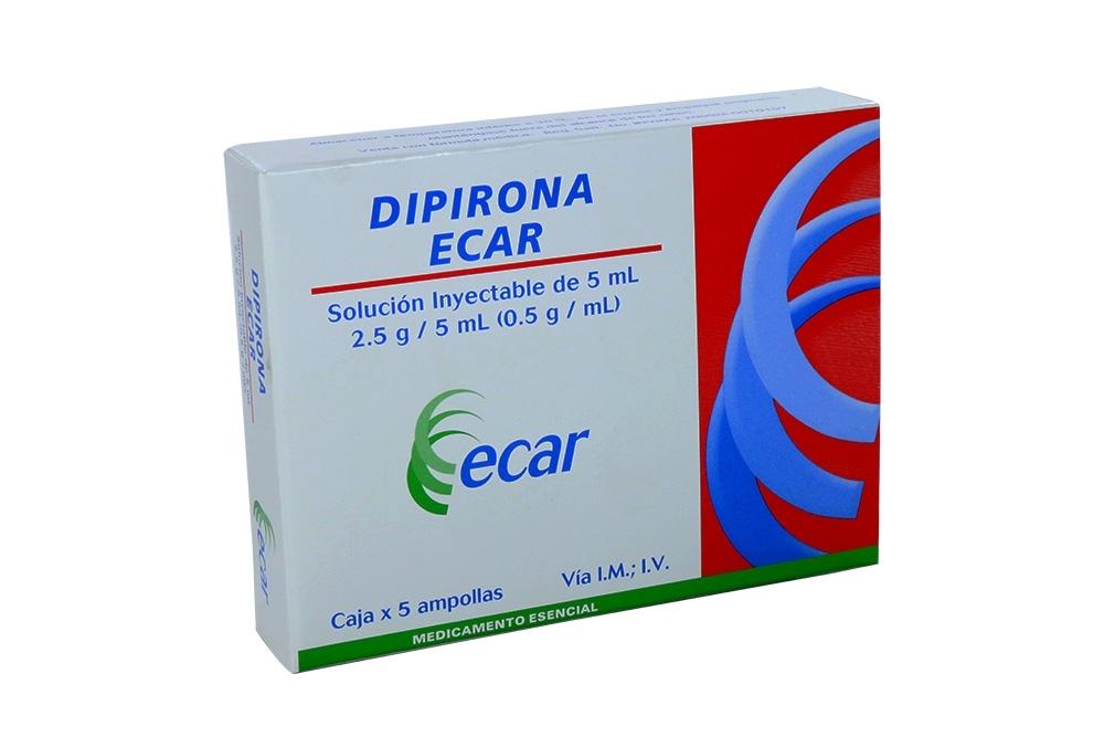 Dipirona 2.5 g / 5 mL Caja Con 5  Ampollas Con 5 mL Rx