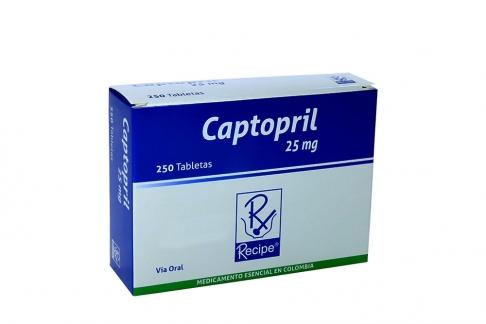 Captopril 25 mg Caja Con 250 Tabletas Rx