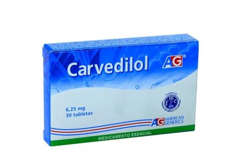 Carvedilol 6.25 mg Caja Con 30 Tabletas Rx