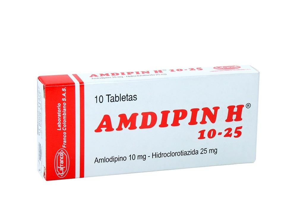 Amdipin H 10 / 25 mg Caja Con 10 Tabletas Rx4