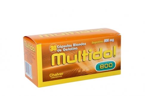 Multidol 800 mg Caja Con 30 Cápsulas Blandas De Gelatina Rx