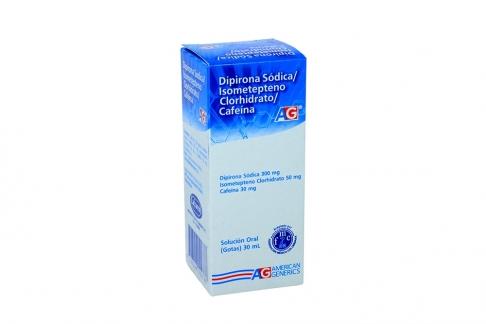 Dipirona Sódica / Isometepteno Clorhidrato / Cafeína 300 / 50 / 30 mg Caja Con Frasco Con 30 mL Rx