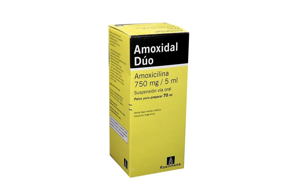 Amoxidal Dúo 750 mg / 5 mL Caja Con Frasco Con 70 mL Rx2